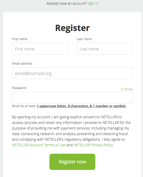Neteller Nigeria Register