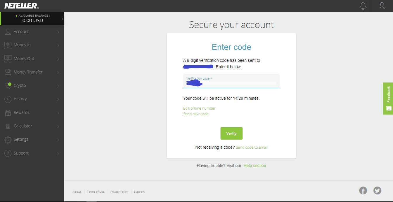 Neteller confirmation code
