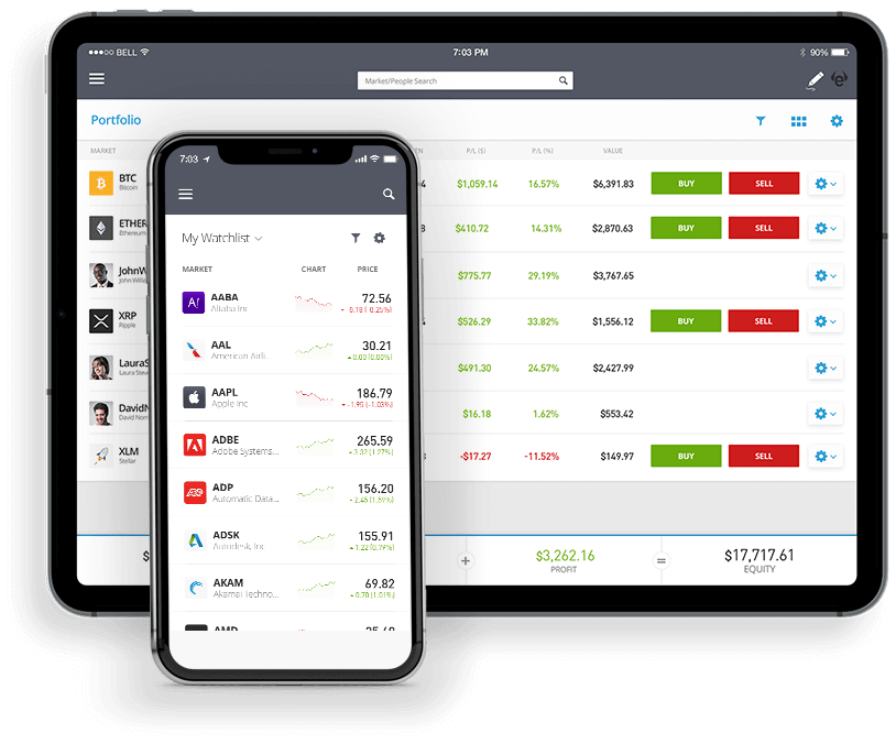eToro mobile trading app - available on iOS and Android