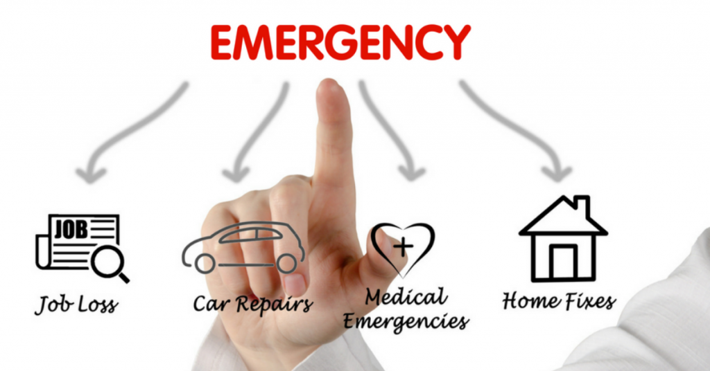 Illustration of different types of emergencies; car, job loss, home and medical