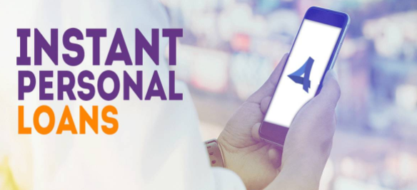 a persoan holding a phone depicting instant personal loans