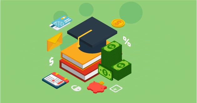 Illustration of debt consolidation featuring a graduation hat, dollar bills, calculator and books