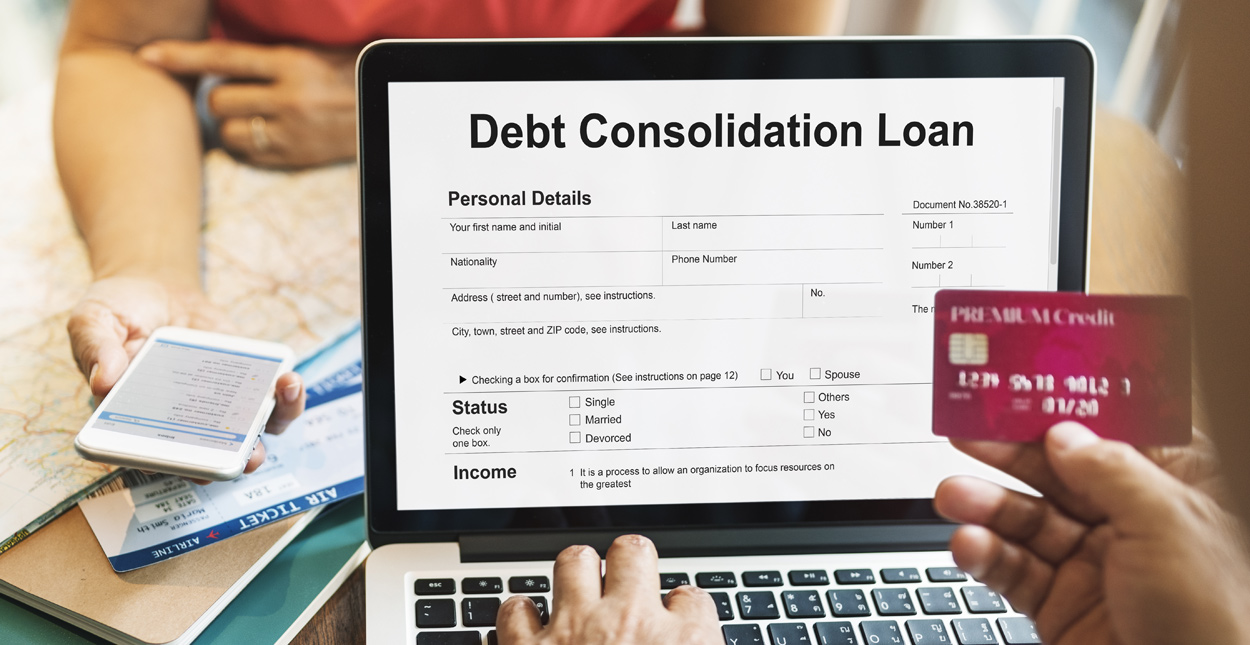 Debt conaolidatuion loan application form diplayed on a laptop