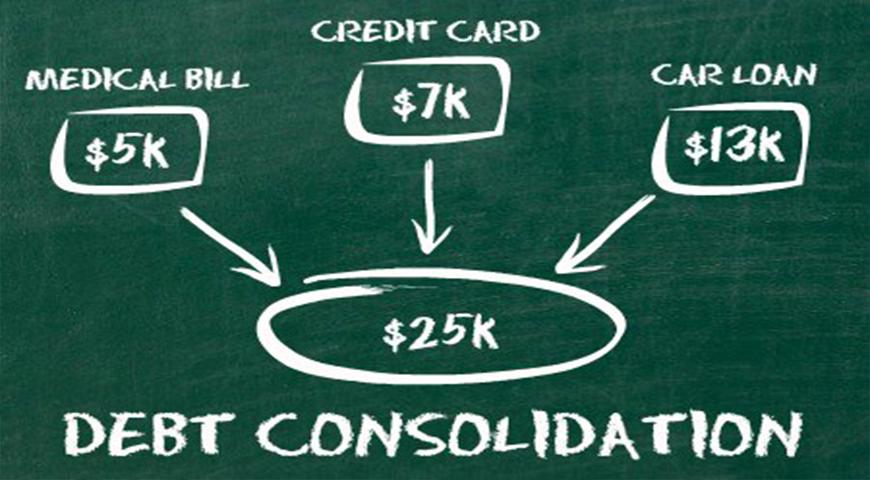 Debt consolidation illustration showing medical, credit card and car loans pooled together