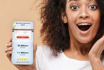 surprised woman showing her phone's display illsutrating loans without guarantors