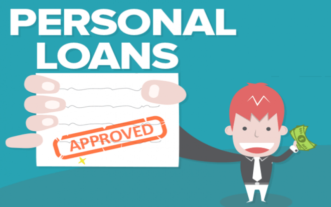 Cartoon man holding approved personal loans papers and cash