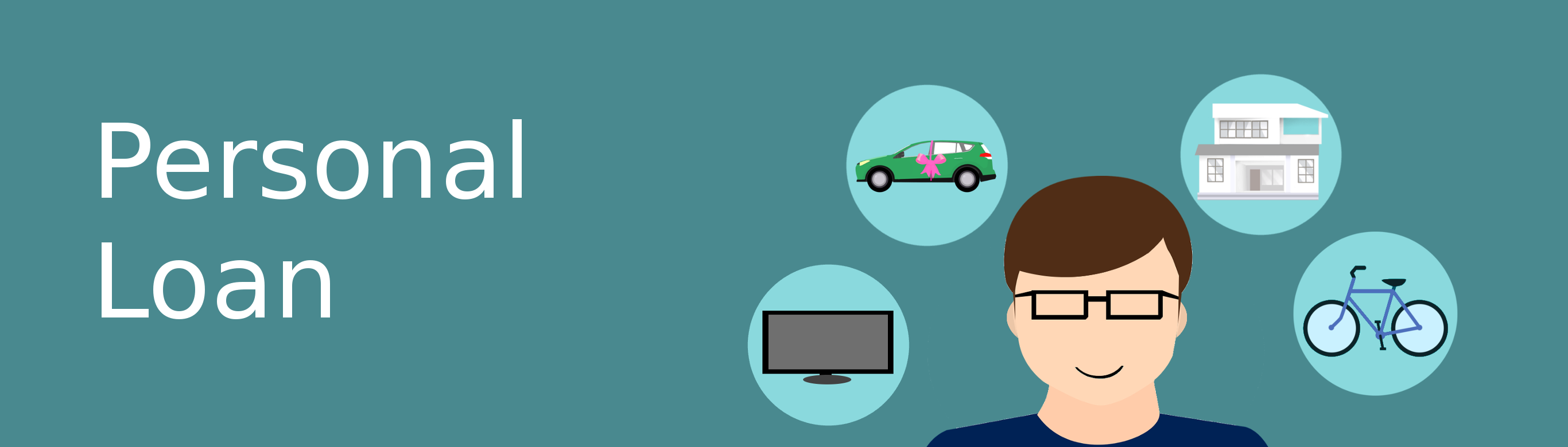 Ilustratin of a bicycle, car, house, computer monitor and man in glasses depisctimg multiuse of a personal loan