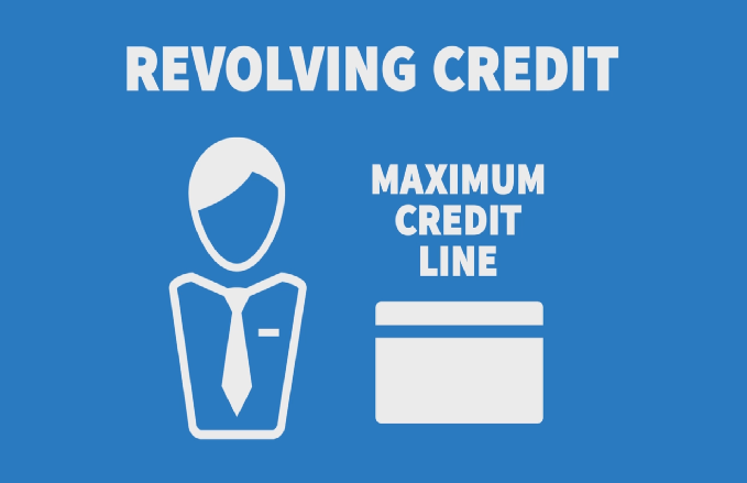 an illustion of person and credit card shosing revolving credit