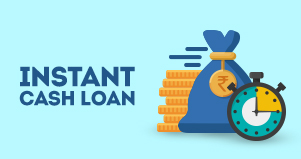 timer, dollar sack and pile of coins illustrating instant cash loans