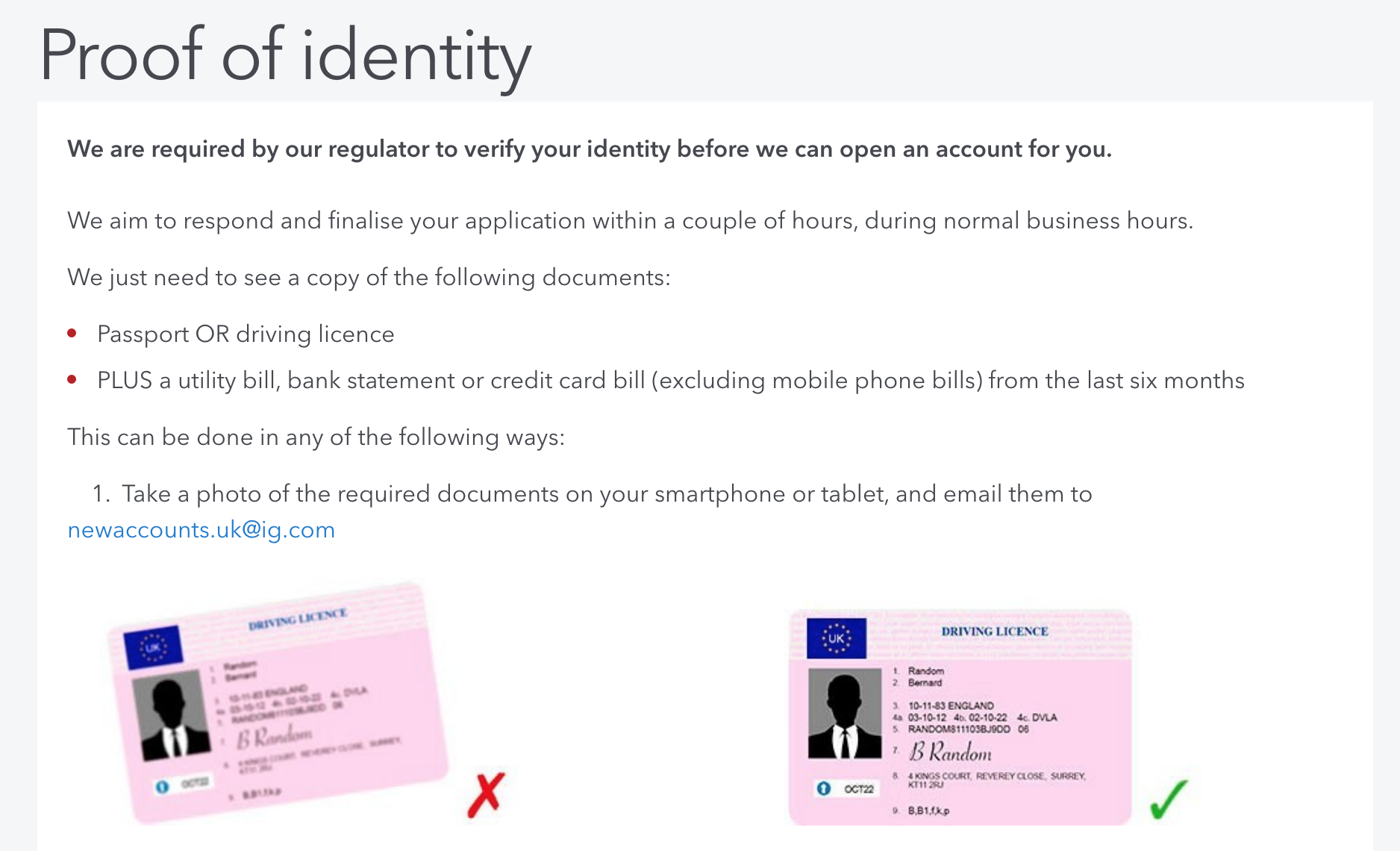 sample Proof of identity requirements