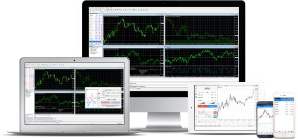 computer, laptop and phone displays shorwing different trading charts