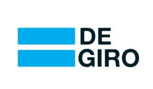 DeGiro investment platform logo; name preceded by two blue bars