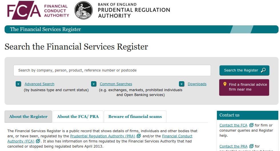 Screengrab of FCA homepage - CMC is FCA regulated