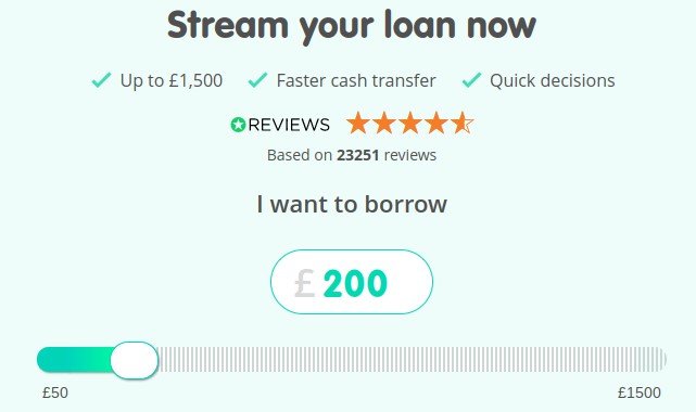 Lendng stream loan application page