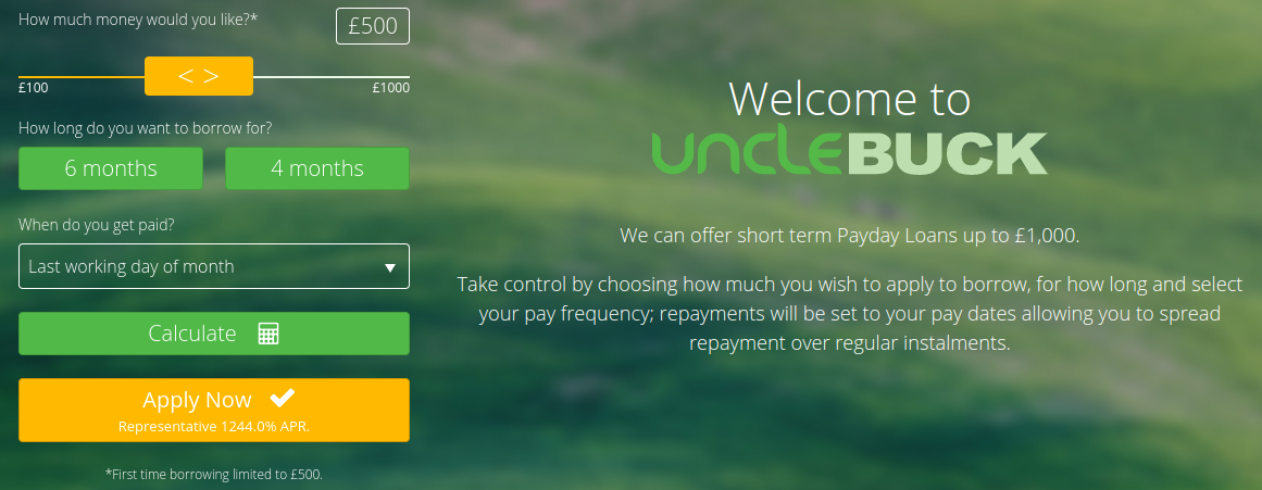 Screengrab of UncleBuck homepage