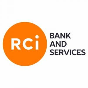 RCI bank and services UK logo; letters RCI in white encircled in Orange