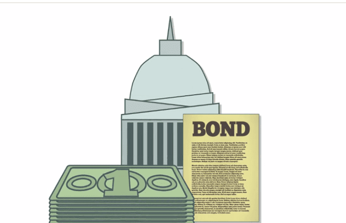 Illustration of green cash bills, a bond paper and a cone-shaped building