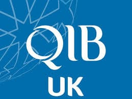QIB Bank UK bank in white against a blue background