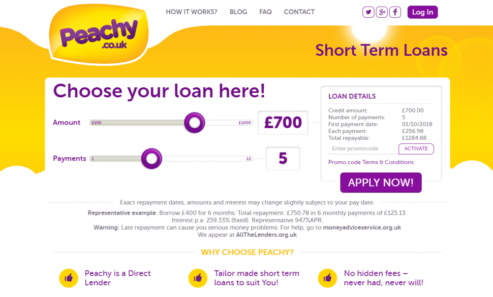 Screngrab of peachy loans application page