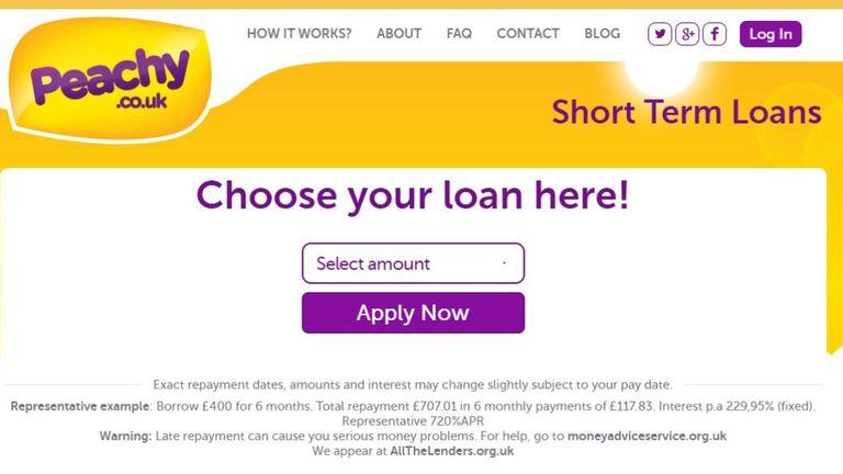 screengrab of Peachy loans comany homepage
