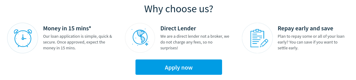Screen grab on the 'why us' page of Loans 2 Go