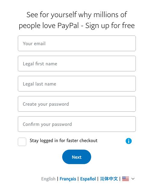 PayPal UK register