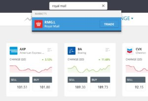 Search for Royal Mail on eToro
