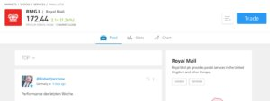Royal Mail page on eToro