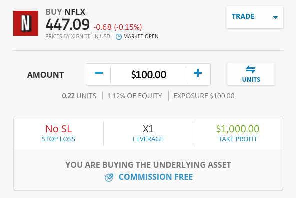 Buy Netflix shares on eToro