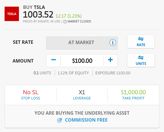 Buy Tesla shares on eToro