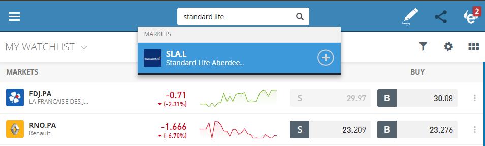 Search Standard Life shares on eToro