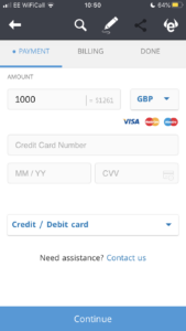 Deposit on eToro trading app