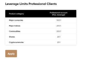 Leverage for professional accounts at Capital.com