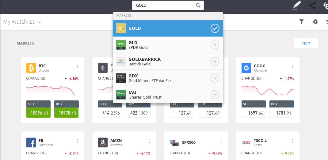How to trade gold on eToro