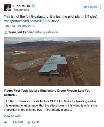 Tesla (TSLA) Gigafactory Tweet from Elon Musk