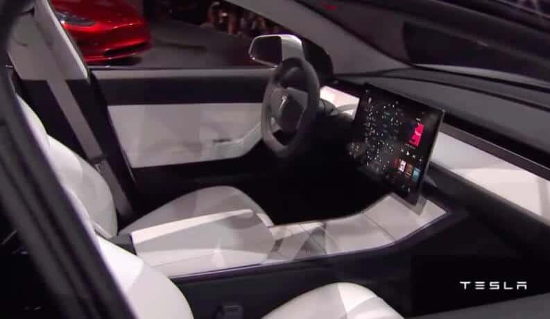 Tesla Motors Inc (TSLA) Model 3 Interior