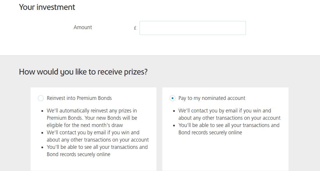 Investment page of Premium Bonds