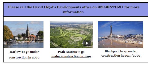 David lloyd's Developements: First...