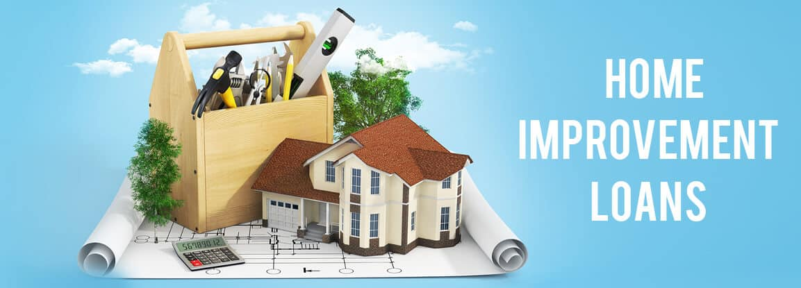 house, toolsbox. calculator and trees on a house design paper - home improvement loans