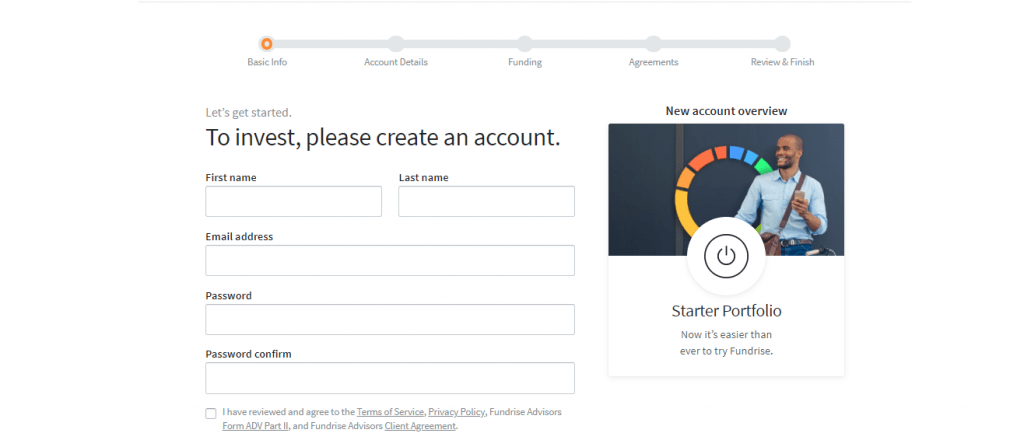 Screengrab of Fundrise investor account creation page showing the basic info part