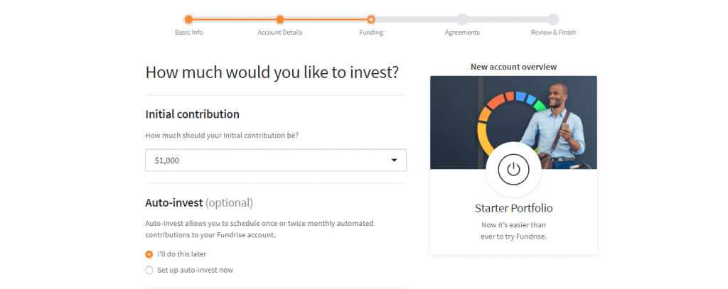 Screengrab of Fundrise investment page asking how much you would llike to contribute and auto-invest option