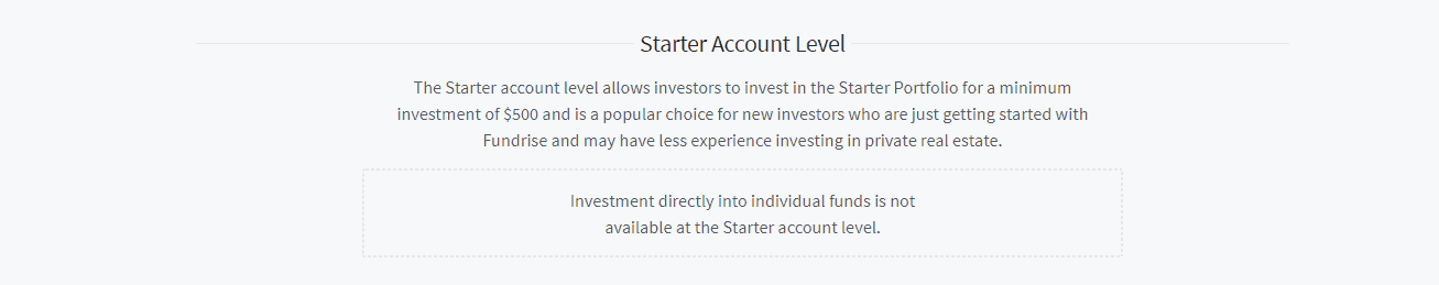 Screengrab of Fundrise start account level page with $500 minimum investment requirement