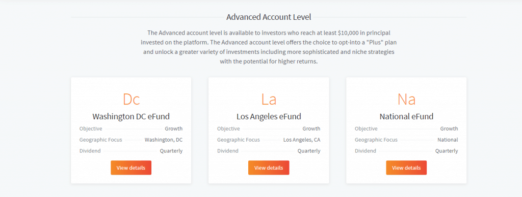 Fundrise Advanced account level page detailing the three types eFunds you can invest in: Washington, Los Angeles and National eFunds