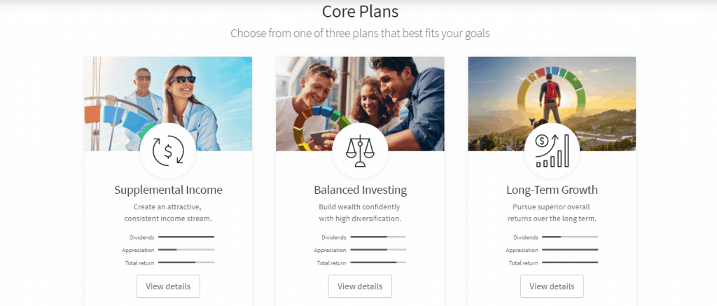 Fundrise Investment plans detailing supplemental income, balanced investment, and long-term growth investment plans