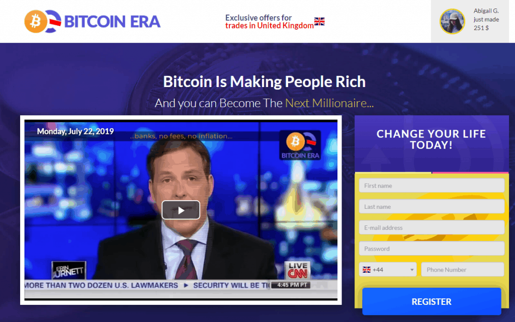 Man in a video explaining Bitcoin Era concept with side note on registration