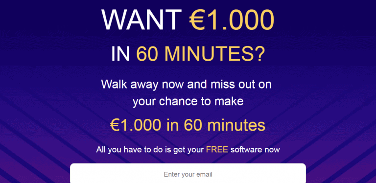 "BigMoneyRush registration page with ""Want €1,000 in 60 minutes"" claim"