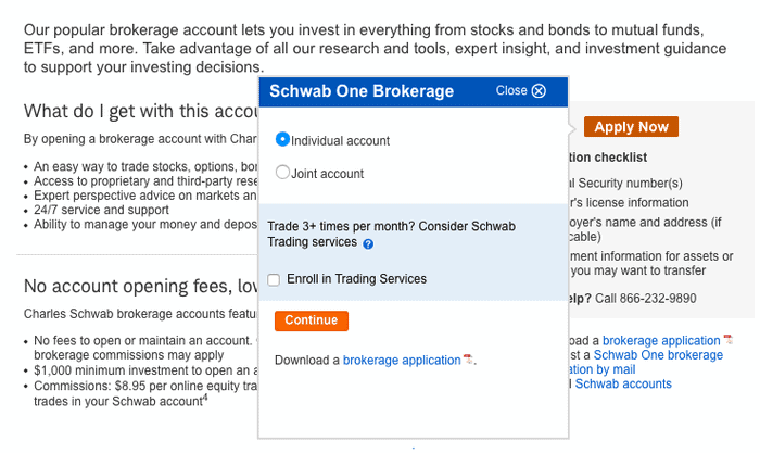 Charles Schwab Review : Charles Schwab individual or Joint account creation