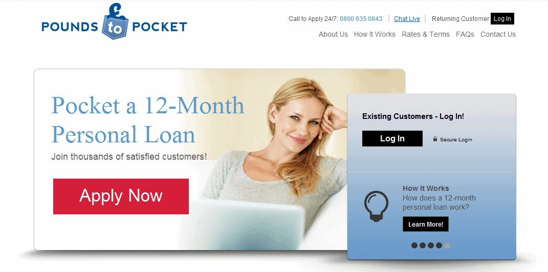 Screengrab of Ppounds to pockect homepage with a smiling woman holding a laptop