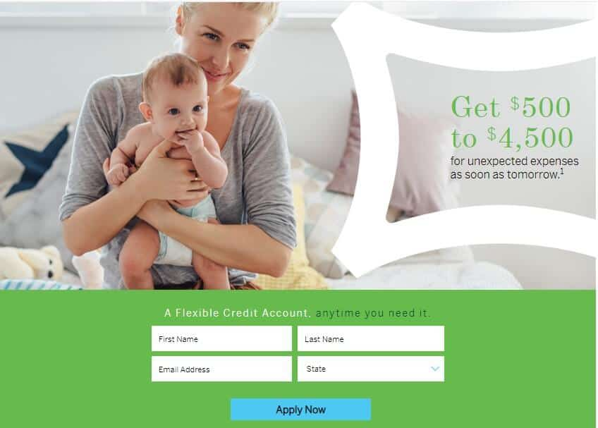 Woman holding baby on loan application page of Elastic alongside call to action for borrowing $500-$4500
