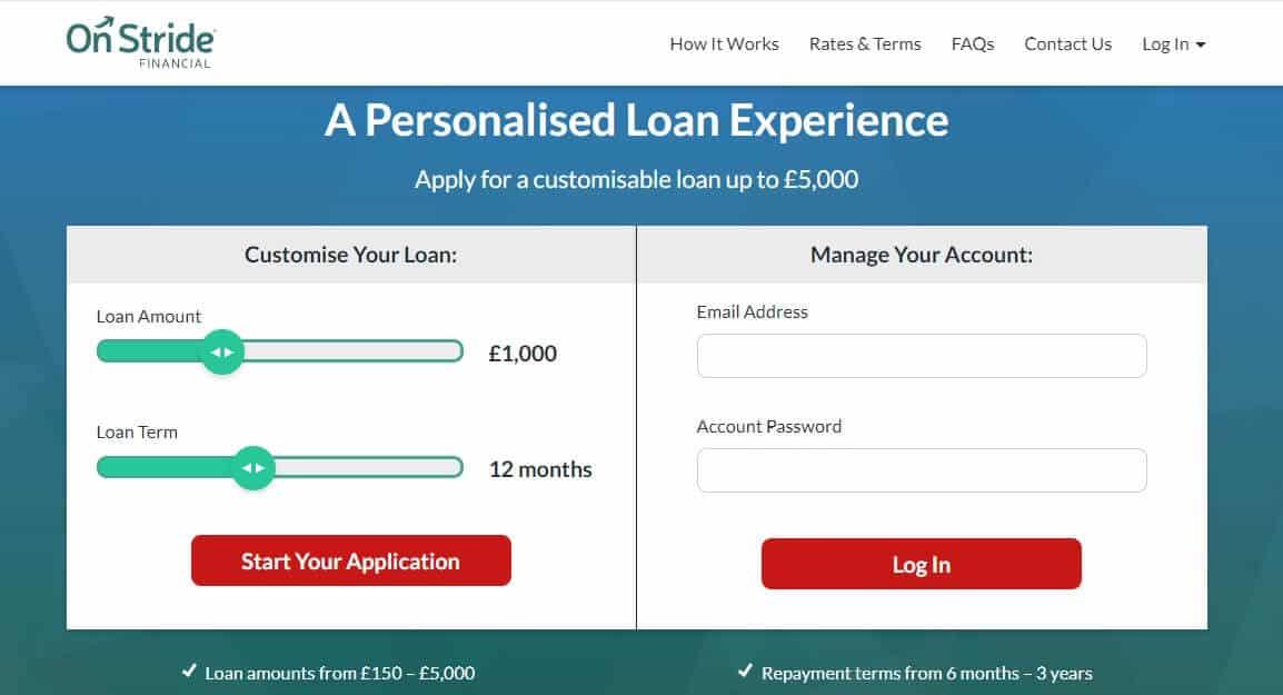 Screengrab of On Stride Financial loan applicatipn page